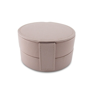 Morelle and Co Pink Leather Round Compact Jewelry Box