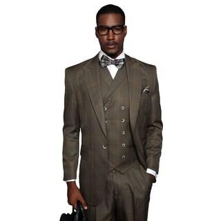 Statement Sassari Men's Camel Brown Wool Double-breasted Statement Suit