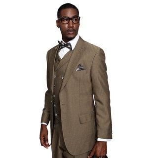 Monza Men's Taupe Wool Statement Suit
