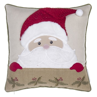 Santa Claus Multicolored Linen and Polyester 17-inch x 17-inch Throw Pillow
