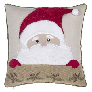 Santa Claus Linen Blend Throw Pillow 17-inch x 17-inch