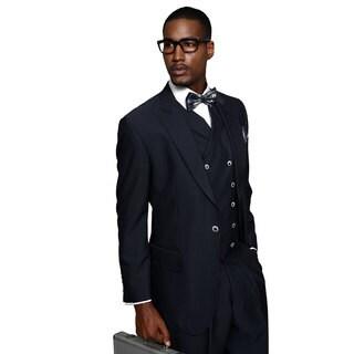 Monza Men's Navy Wool Statement Suit