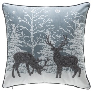 Silver Reindeer Embroidery Throw Pillow