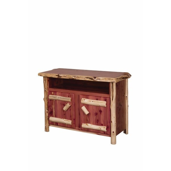 Shop Rustic Red Cedar Log Entertainment Tv Stand On Sale Free