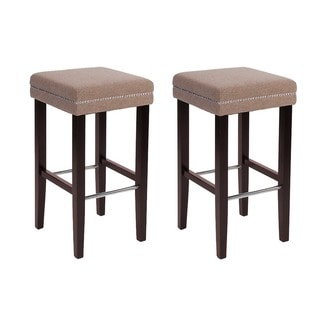 Sawyer Collection Beige Fabric/Wood/Rubberwood Bar Stool (Set of 2)