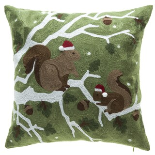 Holiday Squirrel Cotton Embroidery Velvet Throw Pillow with Down Feather Filling 16-inch x 16-inch