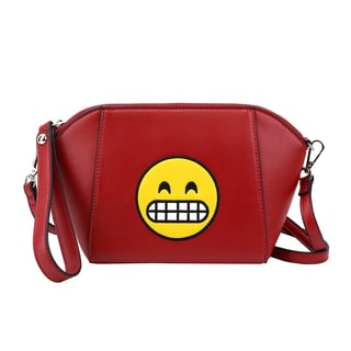 Olivia Miller Merry Smiley Emoji Red Shoulder Handbag