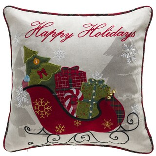 Holiday Gifts Embroidery Throw Pillow with Down Feather Insert 18-inch