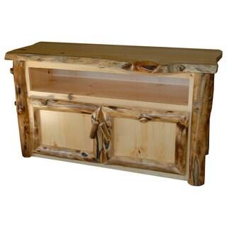 Rustic Aspen Log TV Stand