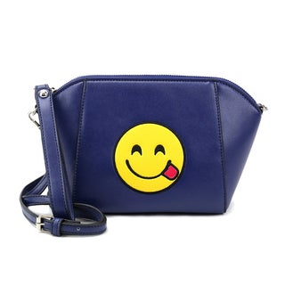 Olivia Miller 'Silly' Tongue Emoji Navy Faux Leather Shoulder Handbag