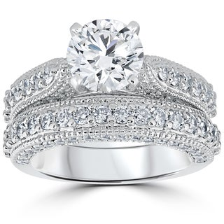 14k White Gold 3 1/6ct TDW Diamond GIA Certified Vintage Engagement Wedding Ring Set (I, VS1-VS2)
