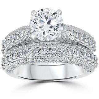 14k White Gold 3 1/6ct TDW Diamond GIA Certified Vintage Engagement Wedding Ring Set