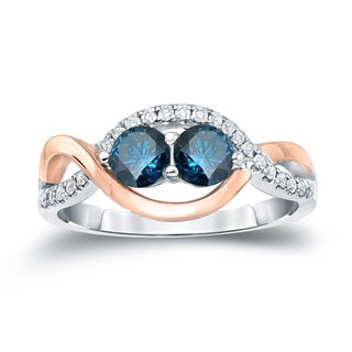 Auriya 14k Two-Tone Gold 1ct TDW 2-Stone Round Cut Blue Diamond Engagement Ring (H-I, SI2-SI3)