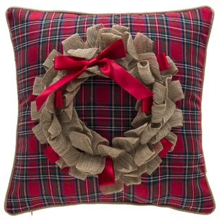 Plaid Wreath Throw Pillow