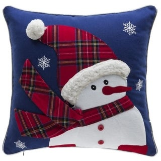 Twinkle Snowman Cotton Embroidery Throw Pillow 17-inch