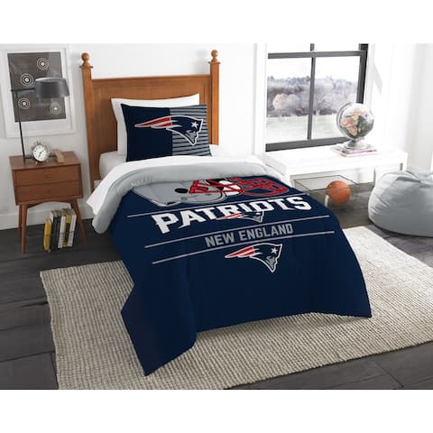 New England Patriots Twin Comforter Set - Blue