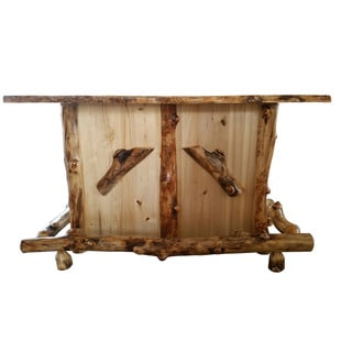 Rustic Aspen Log Bar with Center Wine Rack
