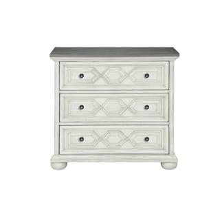 Magnussen Home Furnishings Hancock Park Vintage White and Weathered Oak Wood 3-drawer Bachelor's Chest