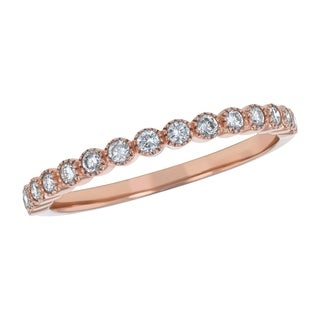 Beverly Hills Charm 10k Pink Gold 1/4ct TDW Diamond Milgrain Anniversary Wedding Band