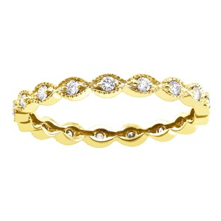 10k Yellow Gold 1 4ct Diamond Vintage Eternity Band Ring By Beverly Hills Charm
