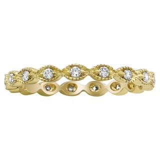 Beverly Hills Charm 10k Yellow Gold 1/4ct TDW Diamond Milgrain Eternity Wedding Band Ring (H-I, I2-I3)
