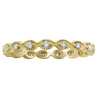 10k Yellow Gold 1/4ct TDW Diamond Vintage Inspired Eternity Wedding Band Ring