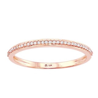 Beverly Hills Charm 10K Pink Gold 1/10ct TDW Diamond Anniversary Stackable Band Ring