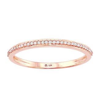 10k Pink Gold 1/10ct TDW Diamond Anniversary Stackable Band Ring