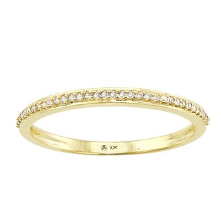 Beverly Hills Charm 10K Yellow Gold 1/10ct TDW Diamond Anniversary Stackable Band Ring