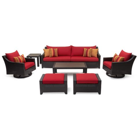 Deco Deluxe 8pc Sofa & Club Chair Set in Sunset Red by RST Brands