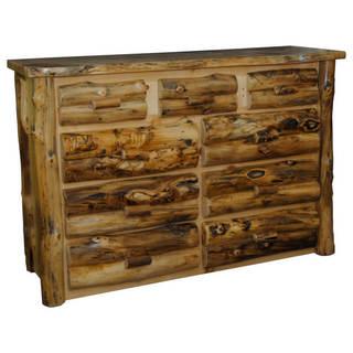 Rustic Aspen Log 9 Drawer Dresser