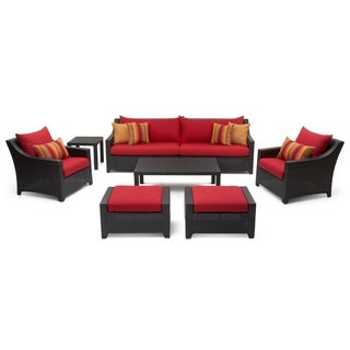 Deco 8pc Sofa and Club Chair Set in Sunset Red by RST Brands