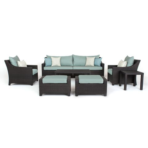 Deco 8pc Sofa and Club Chair Set in Spa Blue by RST Brands