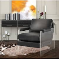 Serena Black Eco-leather and Lucite Chair