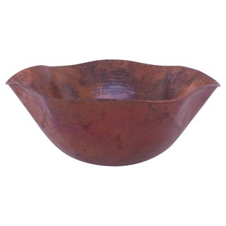 Novatto Andulusia Copper Vessel Bathroom Sink, Natural