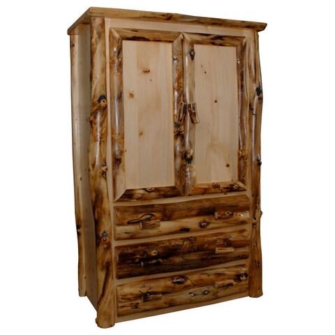 Rustic Aspen Log Armoire 2 Doors and 3 Drawers