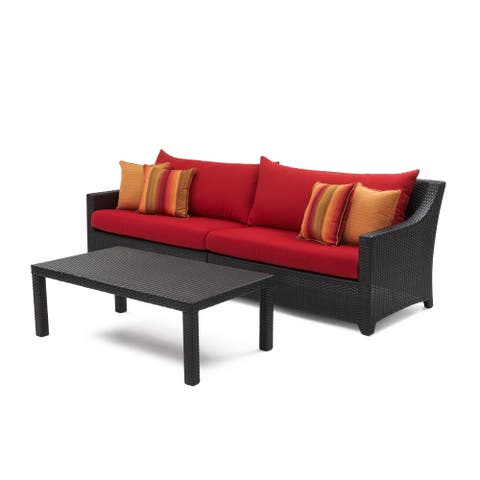Deco Sofa with Coffee Table in Sunset Red by RST Brands