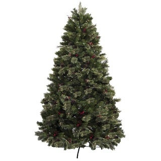 Lauren & Company Green Plastic 7.5-foot Pre-lit Christmas Tree With Ornaments and Metal Stand