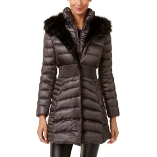 Laundry by Shelli Segal Women's Charcoal Down Cinched Waist Puffer Coat