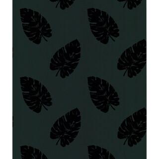 Brewster Paume Black Banana Leaf Wallpaper