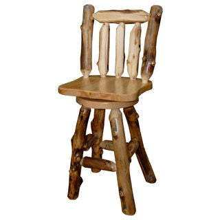 Rustic Aspen Log Bar Stool *with Back & Swivel* Set of 2