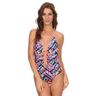 Dippin' Daisy's Women's Multi Ethnic Lace Up and Low Back One Piece Swimsuit