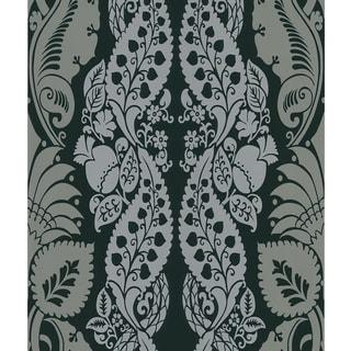 Brewster Dynasty Black Panel Damask Stripe Wallpaper