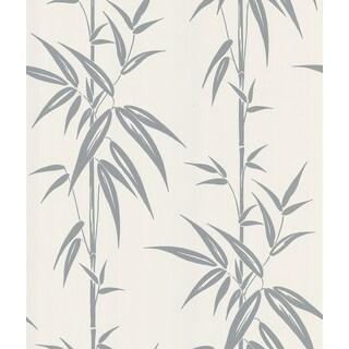 Brewster Saharan Silver Bamboo Stalk Wallpaper