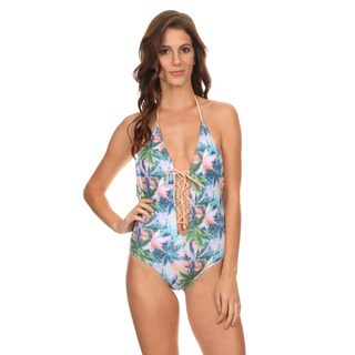 Famous Maker Multicolored Nylon and Spandex Palm Lace-up and Low-back One-piece Swimsuit