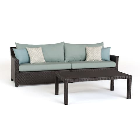 Deco Sofa with Coffee Table in Spa Blue by RST Brands