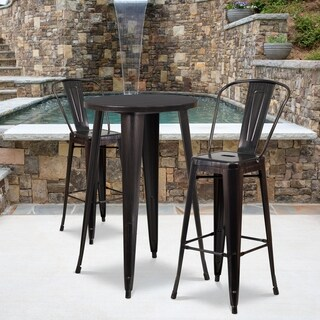 24-inch Round Black-Antique Gold Metal Indoor-Outdoor Bar Table Set with 2 Cafe Barstools