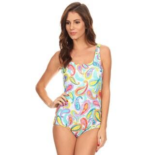 Dippin' Daisy's Women's Green Paisley Missy Boycut 1-piece Swim Suit