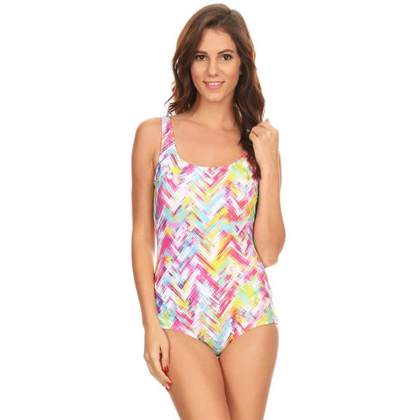 f67ea92e4f226 Shop Famous Maker Women's Mint Plaid Missy Nylon and Spandex Boycut One-piece  Swimsuit - Free Shipping On Orders Over $45 - Overstock - 13330523