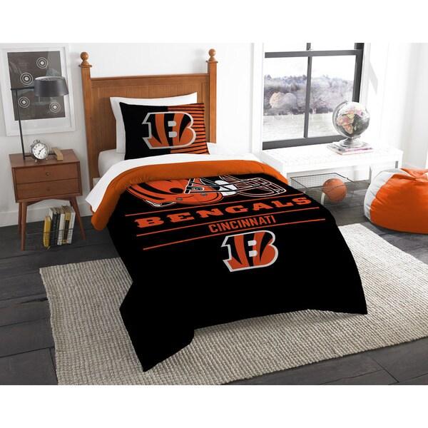 d2d7d7c8 The Northwest Company NFL Cincinnati Bengals Draft Black/Orange Twin  2-piece Comforter Set
